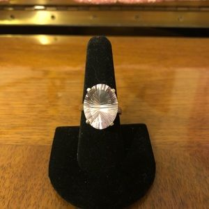 Women's size 8 silver ring with pink stone
